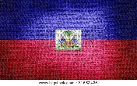 Haiti flag on burlap fabric