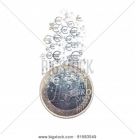 Euro Coin Dissolving As A Concept Of Economic Crysis