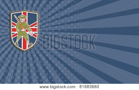 Business Card World War One Soldier British Marching Cartoon Shield