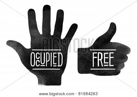 Black hand silhouettes with the words Occupied and Free
