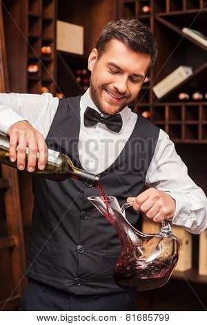 Pouring Wine To Decanter.
