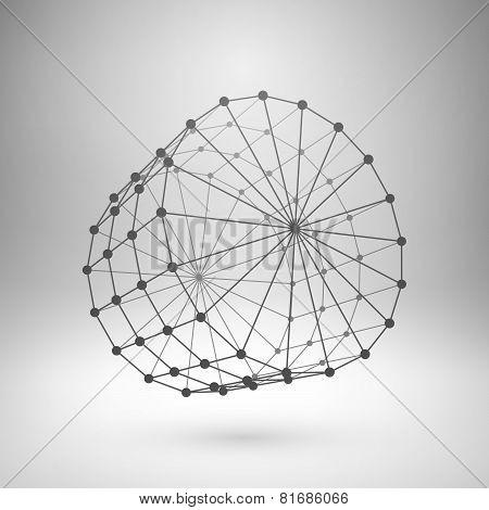 Wireframe mesh polygonal cylinder.