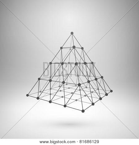 Wireframe mesh polygonal pyramid.