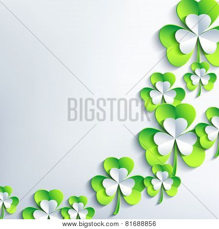 Trendy Background For Patrick Day With 3D Leaf Clover