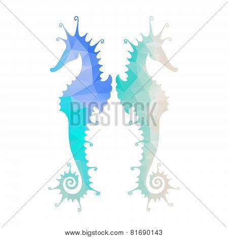 Silhouette of seahorse with modern mosaic effect