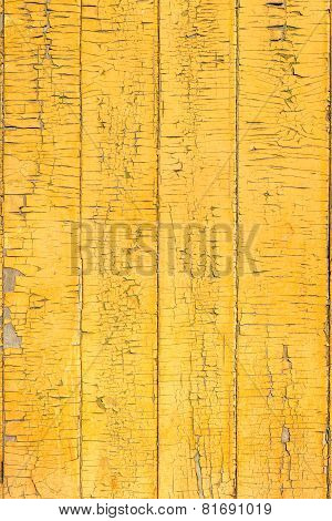 Old Wood Painted Board Yellow Fence Texture