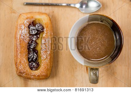 Cup Of Coffee And Danish Pastry.