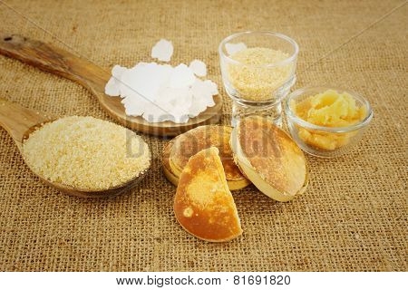 Many Sugar  On Brown Background