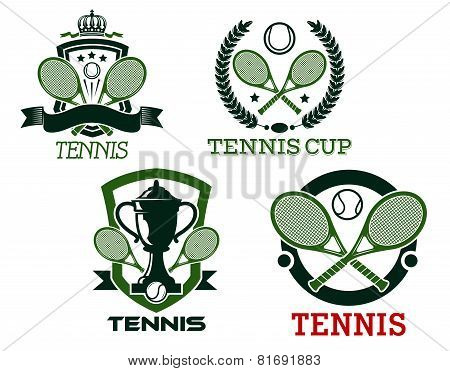 Tennis icons and symols with rackets, balls, net