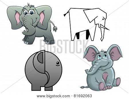 Cute cartoon baby elephants