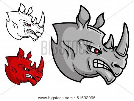 Fierce cartoon rhino head