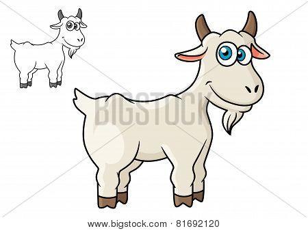 Cartoon horned farm goat