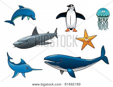 Marine wildlife colored animal characters