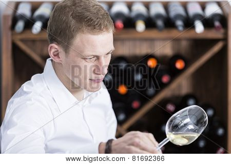 Man Analyzing A White Wine Glass.