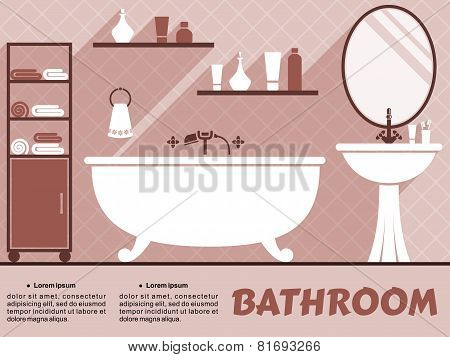 Bathroom interior flat design