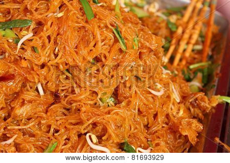 Stir Fried Rice Noodle In The Market