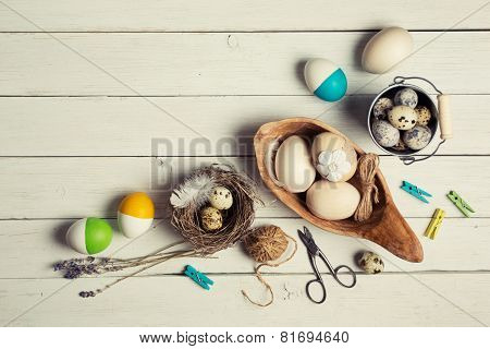Colorful Easter Eggs And Decorations