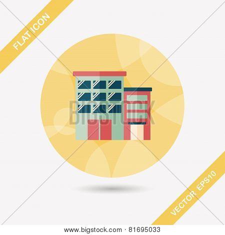 Building Apartment Flat Icon With Long Shadow,eps10
