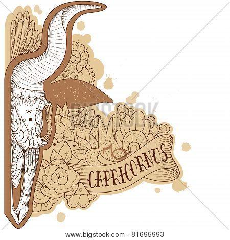 Engraving capricornus