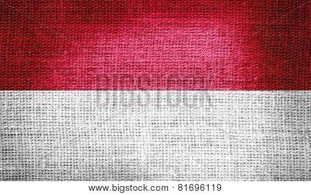 Indonesia flag on burlap fabric
