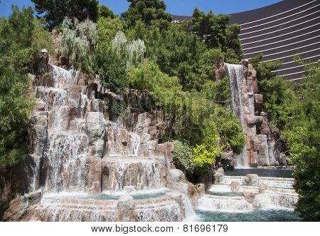 Waterfall at The Wynn Hotel and Casino in Las Vegas.