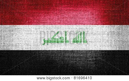 Iraq flag on burlap fabric