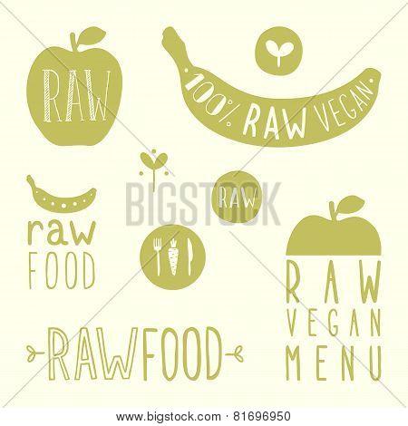 Raw vegan labels.