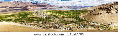 Korzok Village And Monastery And Tso Moriri Himalayan Lake Colorful Panorama