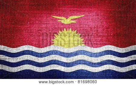 Kiribati flag on burlap fabric