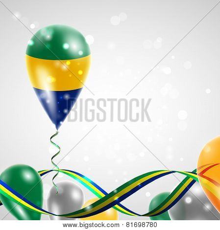 Flag of Gabon on balloon