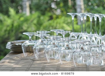 Washed Rows Of Wineglasses