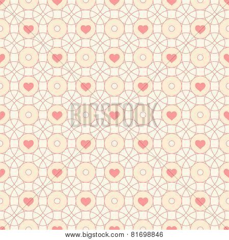 Seamless Pattern With Hearts And Circles.