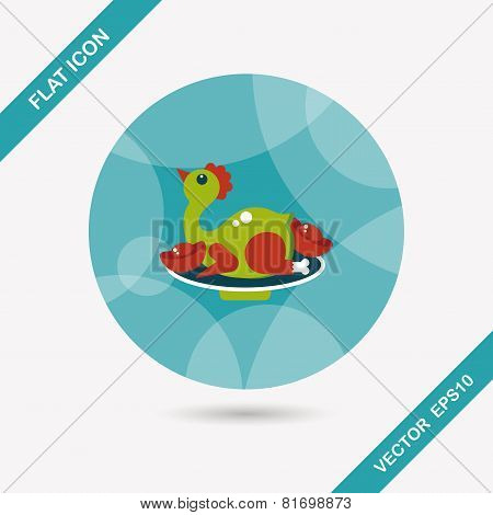 Chinese New Year Flat Icon With Long Shadow,eps10, Chinese Chicken Cuisine