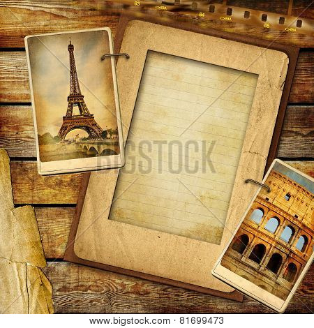 Vintage Travel Collage Background With Blank Page