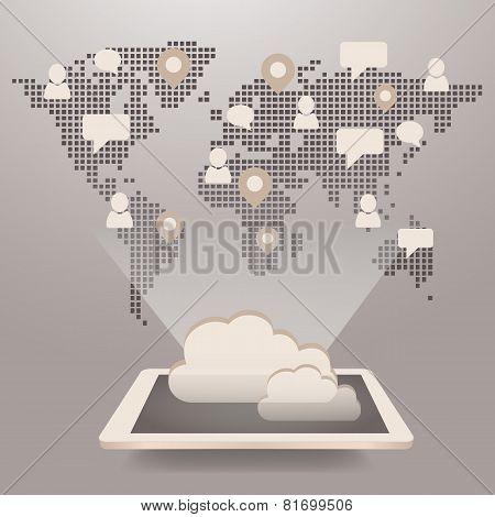 Global Social Media And Cloud Computing Concept