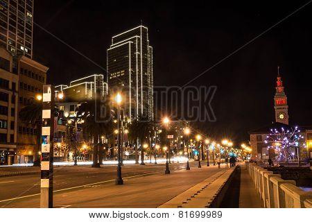 Embarcadero by night, San Francisco