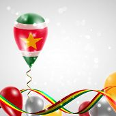 picture of suriname  - Flag of Suriname on balloon - JPG
