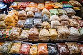 image of seoul south korea  - Dried fruits and nuts for sale at Gwangjang Market in Seoul - JPG