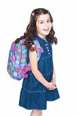 stock photo of knapsack  - Beautiful little schoolgirl with a knapsack on his shoulders - JPG