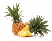 stock photo of tropical food  - Pineapple tropical fruit or ananas isolated on white background cutout - JPG