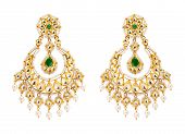picture of diamond  - Close up of gold and diamond earrings with many diamonds on white background - JPG
