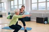stock photo of woman  - Elderly woman doing exercise with her personal trainer at gym - JPG