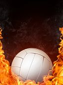 stock photo of volleyball  - Illustration of Volleyball Ball on Fire - JPG