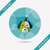 foto of dog birthday  - Dog Birthday Flat Icon With Long Shadow - JPG