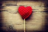 image of valentines  - Valentines Vintage Handmade Heart over Wooden Background - JPG