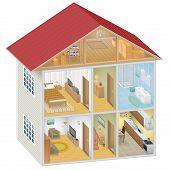 pic of isometric  - Detailed isometric house interior on white background - JPG