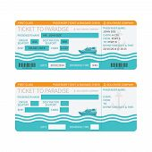 pic of passenger ship  - Sea cruise ship boarding pass or ticket template - JPG