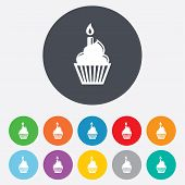 picture of cupcakes  - Birthday cake sign icon - JPG