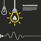 picture of hazard symbol  - Idea lamp with electric plug background - JPG