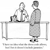 picture of pajamas  - Cartoon of business boss telling employee pajamas are not on the company dress code - JPG